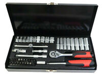 "45pc 1/4"" Dr. Metric Socket Set Deep Drive 6 - 13mm Standard 4 - 13mm Tool Kit"