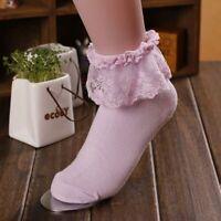 Princess Girls Cute Sweet Women Ladies Vintage Lace Ruffle Frilly Ankle Socks