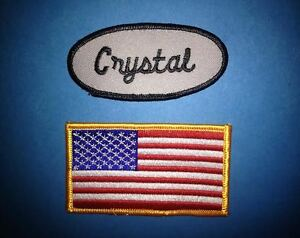 2 Lot USA Flag Crystal Name Tag Employee Uniform Work Shirt Cosplay Patches 095