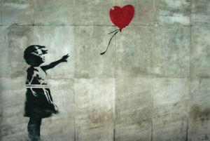 Famous London Urban Graffiti Poster Print Art Banksy Girl Heart Balloon 24x36