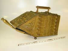 Antique Scottish Victorian Embossed Brass Coal Box, Hod, Scuttle Man in the wood