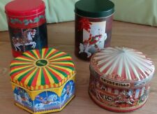 4 x FAIRGROUND CAROUSEL MERRY-GO-ROUND SWEET & BISCUIT TINS - HARRODS CHURCHILLS