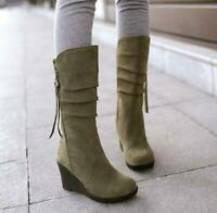 Womens Winter Faux Suede Metal Decor Block Mid Heels Knee High Knight Boots MG