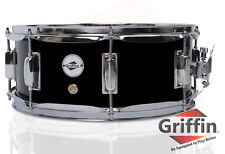 "Griffin Snare Drum – Black 14x5.5 Poplar Wood Shell 14"" Percussion Kit Set 5.5"""