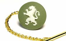 Genuine, Wedgwood Round, White Lion Cameo On Gold Plated Tie Tack/ Scatter Pin