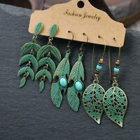 3pairs/set Boho Gypsy Earrings Tribal Ethnic Festival Leaf Turquoise Drop Dangle