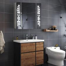 Illuminated LED Bathroom Mirror Cabinet Storage Unit With Demister Shaver Socket