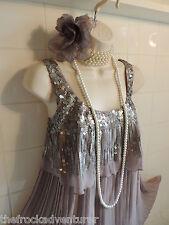 16 vintage anni 1920 NEXT GRIGIO PAILLETTES Tier Flapper Charleston Gatsby Downton Dress