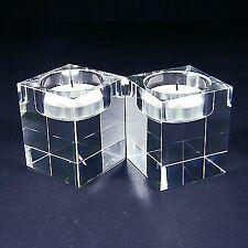Crystal Tea Light Holders (Square) 2.3'' 60mm, 2 pc pkg w Gift Box