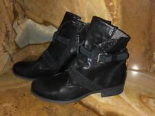 New~Miz Mooz Leather Moto Stud Straps Ankle Boots~ Side Zip~Storm~Black~40~9 9.5