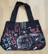 Canvas Shoulder Bag with Graffiti Style Decoration