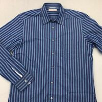 Ermenegildo Zegna Mens Button Front Shirt Blue Stripe Long Sleeve Pocket L