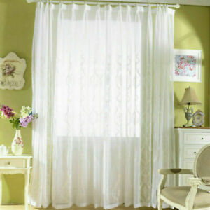 Embroidery Cotton Net Curtains Pelmets Tulle Voile Window Panels Drape White