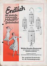 GERA, Prospekt 1934, E. F. Haupt druckfester Wand-Gas-Bade-Ofen
