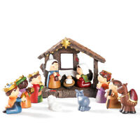 11 Pack LED Christmas Nativity Holy Family Figures Resin Figurines Hand Painted