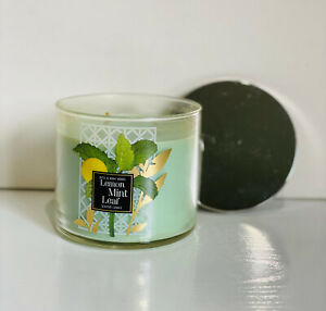 NEW! BATH & BODY WORKS 3-WICK SCENTED CANDLE - LEMON MINT LEAF - SALE
