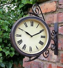 Cockerel and Bell Outdoor Garden Clock With Station Bracket Double Sided - 20cm