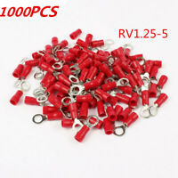 1000Pcs RV1.25-5 Insulated Ring Wire Connector Crimp Terminals Cord 22-16AWG Red