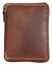 Zip-around natural durable genuine leather wallet. Fast Worldwide shipping.