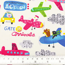 Cotton Fabric FQ Aircraft Airplane Plane Car Taxi Bus Zoo Children Cartoon VK109