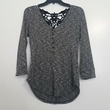 New listing Almost Famous Heather Gray Knit Buttoned 3/4 Sleeve Crochet Back Fall Shirt, L