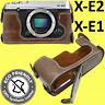 Fujifilm X-E2 XE2 X-E1 XE1 PU Leather Half Case Cover - Coffee
