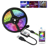 5V USB LED Strip Lights TV Backlight 5050 RGB Colour Change Bluetooth APP Remote