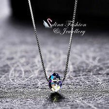 925 Sterling Silver Made With Swarovski Element Colourful Single Bead Necklace