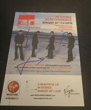 JARED LETO+30 SECONDS TO MARS BAND SIGNED FLYER CARD A BEAUTIFUL LIFE WCOA+PROOF