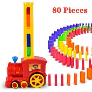 Magic Electric Red Train Domino Car Vehicle Model With 80 Domino Pieces Kids Toy
