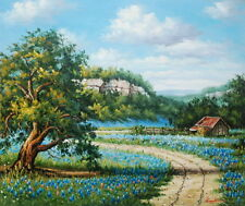 """Handpainting Oil painting Texas Bluebonnets Landscape on canvas 20""""x24"""" inches"""