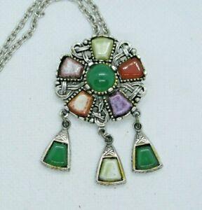 Vintage Scottish Silver Tone Agate Pendant Necklace