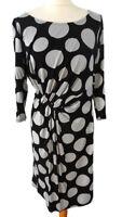 Per Una M&S Size 14 Black Grey Polka Dot Spotty 3/4 Sleeve Knot Front Dress