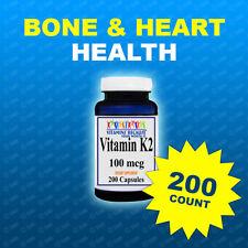 Natural Vitamin K2 - Menaquinone 7 (MK 7) 100 mcg 200 Caps- Quality-Purity  USA