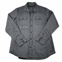 Buckle Black Slim Fit Long Sleeve Snap Button Up Shirt Gray Mens Size Large