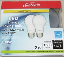 Sunbeam 100W LED DIMMABLE A19 / A21 Light 2 PACK, ENERGY STAR, 1600 Lumen... New