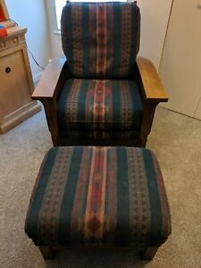 Mission Style FLEXSTEEL Chair & Ottoman Southwest Fabric And Wood Fort Myers FL