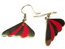 Red & Gold Modernist Gold Toned Wing-Shaped Enamel Earrings Pizazz Brand G31