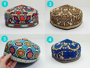 Uzbek Traditional Hat silk embroidery bohemian Muslims Kufi Cap Suzani Doppi