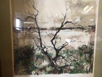 Pierre Letellier Lithograph Framed Art Landscape Original Print Signed Numbered