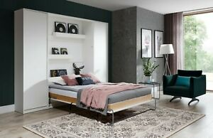 Single Vertical Wall Bed Murphy Bed Hidden Bed with Cabinets, Wardrobe