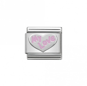 GENUINE NOMINATION Stirling Silver Pink MY LOVE Link 330202-31 FREE DELIVERY