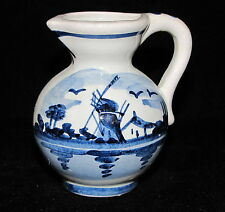 DELFT Blue Small Porcelain Pitcher or CREAMER with Windmill Design