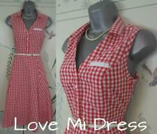 Gorgeous 40's 50's Style Gingham Check Fit N Flare Tea Dress 10 EU38 Swing!
