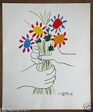 Pablo Picasso Flowers in the Hands Rare Vintage Lithograph printed in late 1960s