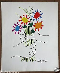 Picasso  Hands Giving Flowers  Vintage 1st Limited Ed Original 1960 Lithograph