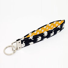 Key Chain Handmade Key Fob Wristlet Fabric Strap - elephants in black yellow dot