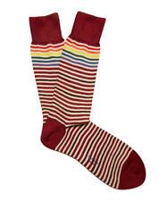 Paul Smith Mens Mid Length Italian Socks Fine Stripe Red K138 One Size CottonMix