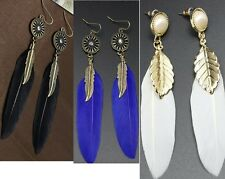 Feather Earrings.Real White/Blue or Black Dangle Drop Stud Hook 90mm