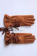 $550 NWT AUTHENTIC Ralph Lauren PURPLE LABEL Suede Women's Gloves in Chestnut